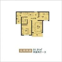 2室2厅1卫  91.91平米