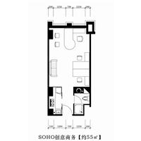 1室1厅1卫  55平米