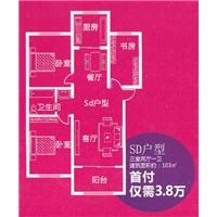3室2厅1卫  103平米